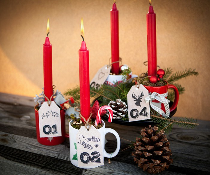 advent-wreath-ideas-candles-red-mug-number-pine-cones