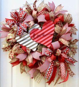 valentýnská dekorace na dveře